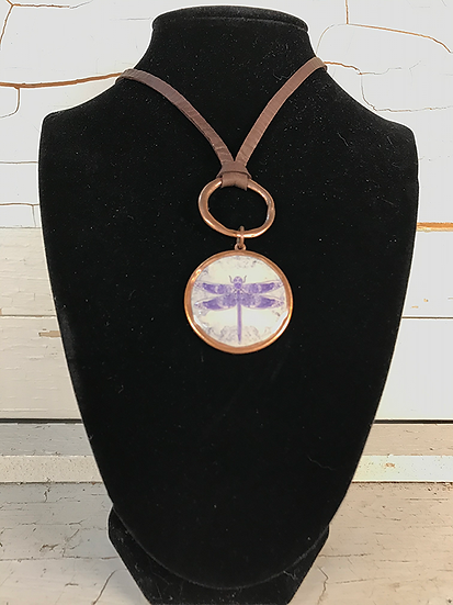 Copper Celtic Dragonfly Deerskin Lace Necklace