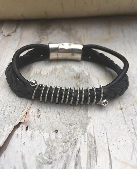 Black Leather Electric Guitar String Bracelet