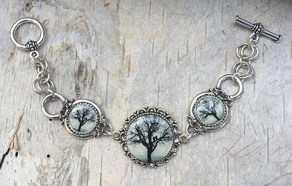 Antique Silver Raven Tree Link Bracelet