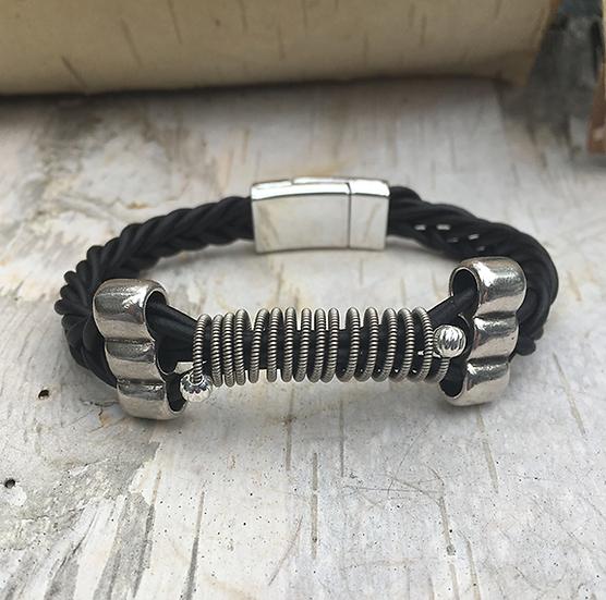 Leather Electric Guitar String Bracelet Black