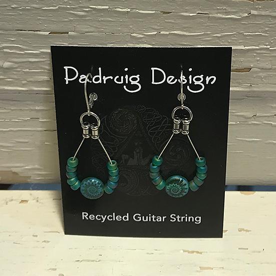 Aqua Fossil Guitar String Earrings