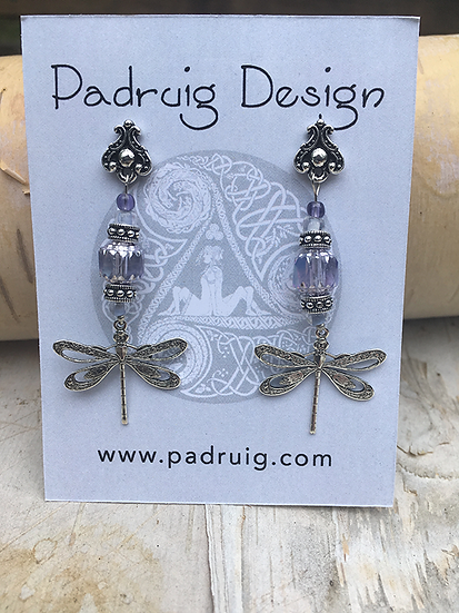 Silver and Alexandrite Dragonfly Earrings