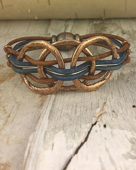 Copper 3 Circle Blue Brown Bass String Bracelet