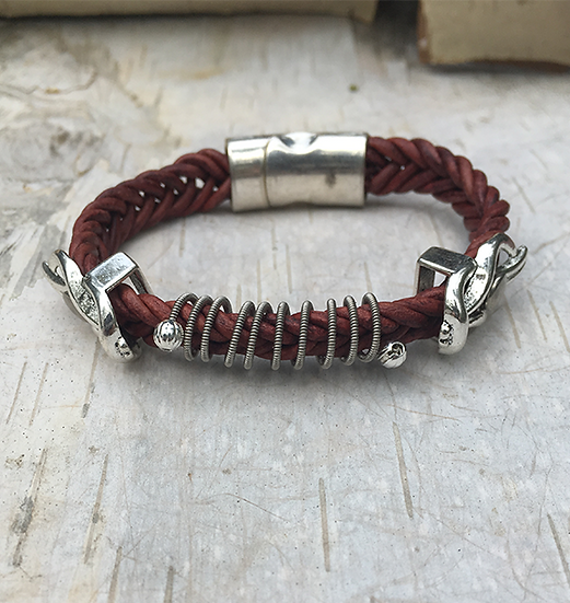 Red Leather Electric Guitar String Bracelet