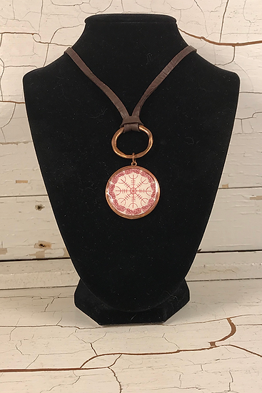 Copper Helm Of Awe Deerskin Lace Necklace