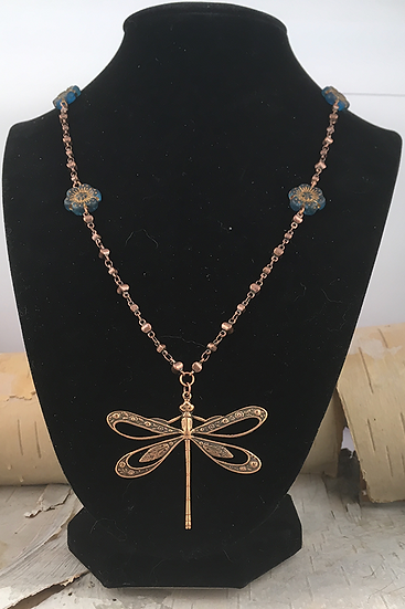Copper Dragonfly Necklace Teal Wild Rose