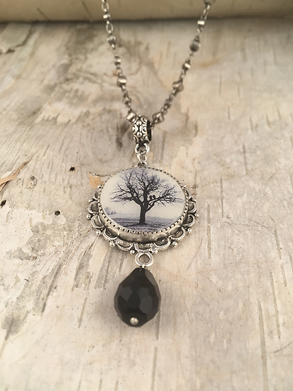 Antique Silver Raven Tree Necklace