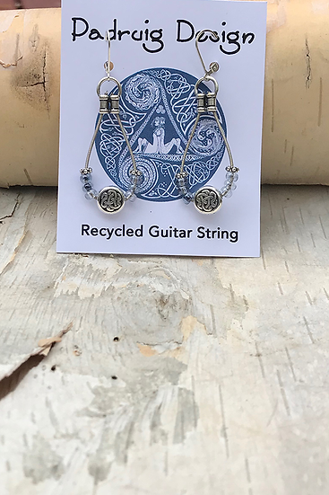 Pale Blue Bass String Earrings