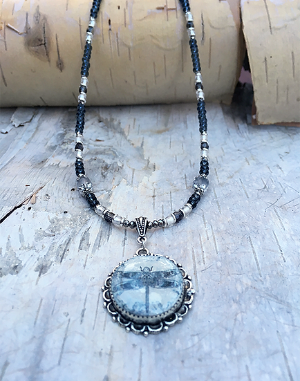 Grey Dragonfly Necklace