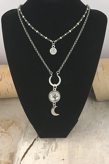 Silver Two Strand Raven Tree Necklace