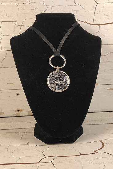 Silver Circle Of Life Deerskin Lace Necklace Black