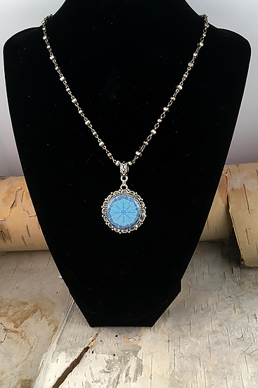 Silver Blue Helm Of Awe Necklace