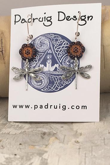 Silver Navy Wild Rose Dragonfly Earrings