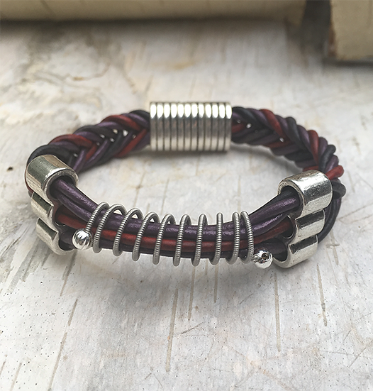 Leather Multi Electric Guitar String Bracelet