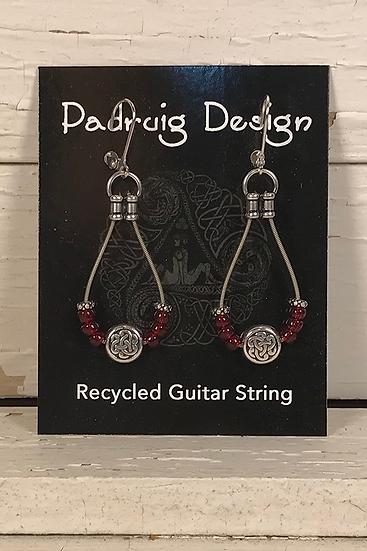 Garnet Guitar String Earrings