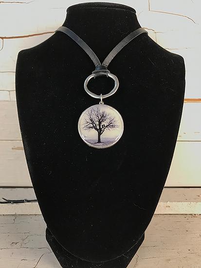 Silver Raven Tree Deerskin Lace Necklace