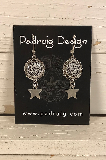Silver Troyes Star Earrings with Star Drops
