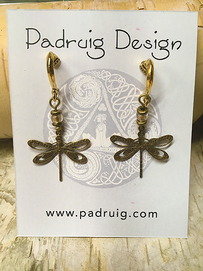 Gold Dragonfly Post Earrings