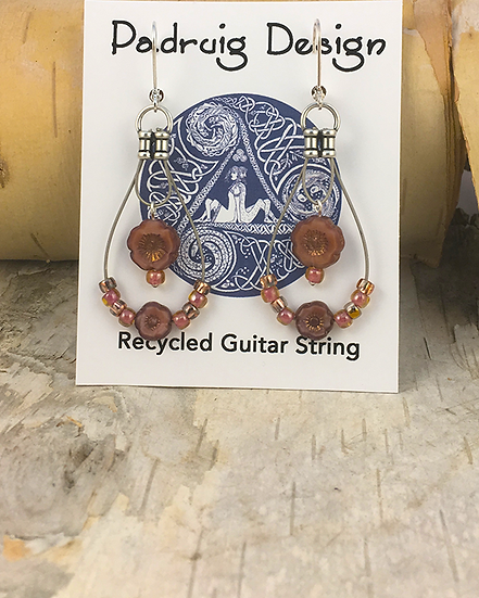 Flower Guitar String Earrings