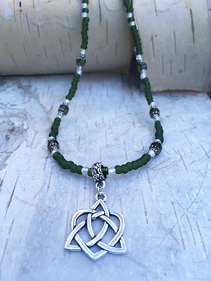 Silver Trinity Heart Necklace Moss