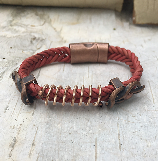 Rose Leather Acoustic Guitar String Bracelet