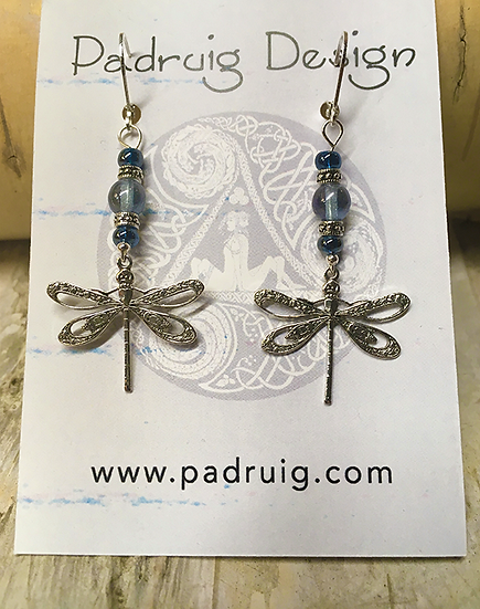 Silver Dragonfly and Blue Luster Earrings