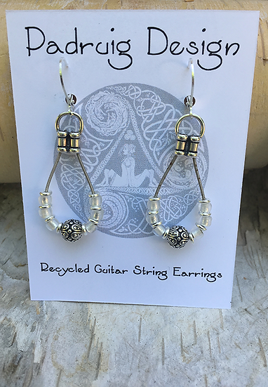 Recycled Guitar String Earrings White