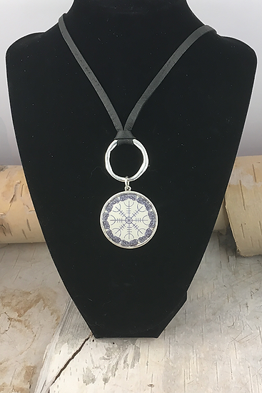 Silver Helm Of Awe Deerskin Lace Necklace
