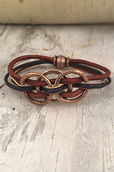 Copper 3 Mini Circle Guitar String Bracelet