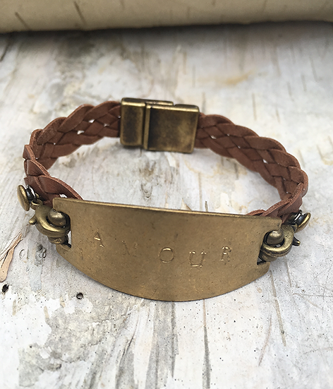 Hand Stamped Amour Brown Leather Bracelet