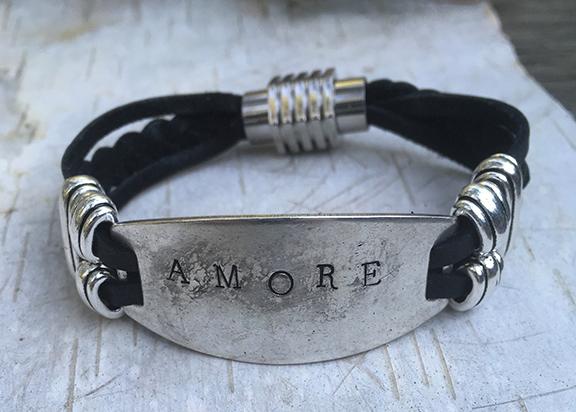 Black Deerskin Lace Amore Bracelet
