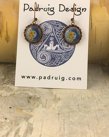 Copper Sun, Moon, & Stars Earrings