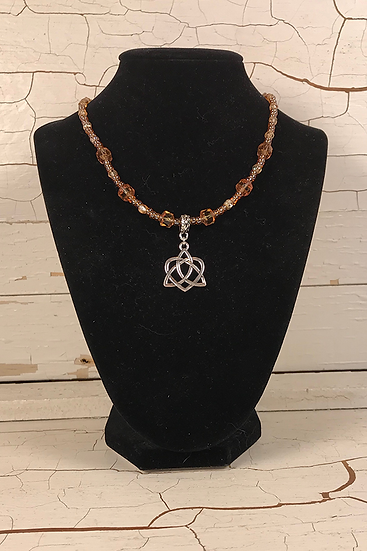 Silver Amber Trinity Heart Necklace