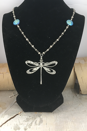 Silver Dragonfly Necklace Blue AB Spiral