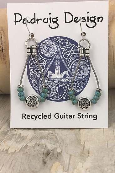 Turquoise Bass String Earrings