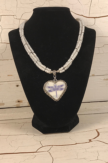 Antique Silver Violet Dragonfly Heart Necklace