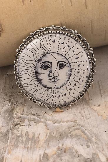 Silver Sun, Moon, & Stars Pin/Pendant