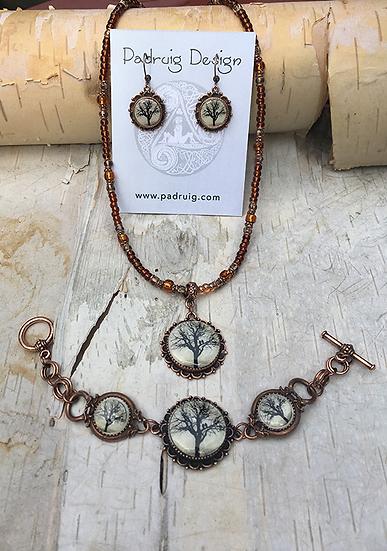 Antique Copper Raven Tree Necklace