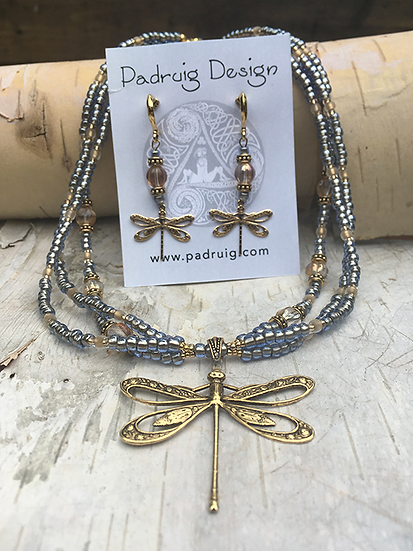 3 Strand Montana Blue Antique Gold Dragonfly Necklace Set