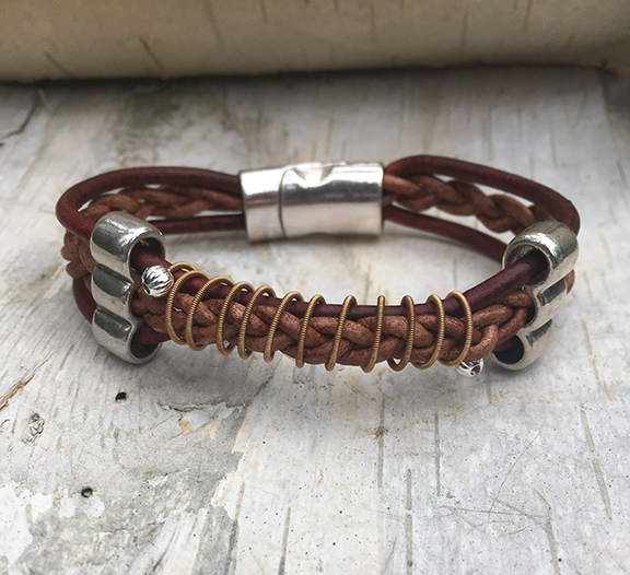 Leather Acoustic Guitar String Bracelet Brown