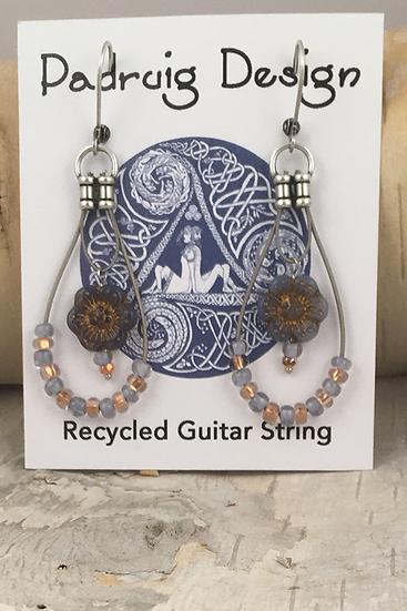Periwinkle Wild Rose Guitar String Earrings