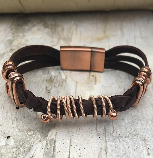 Brown Deerskin Guitar String Bracelet