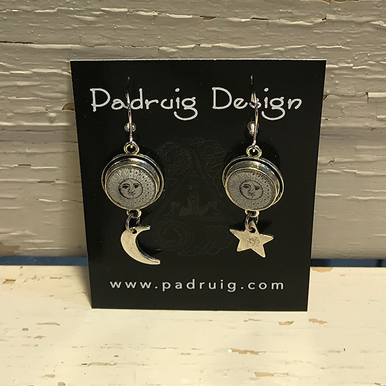 Silver Sun, Moon, and Star Earrings