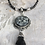 Thumbnail: Antique Silver Dream Horse with Black Faceted Drop