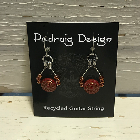 Siam Ruby Coin Guitar String Earrings
