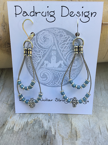 Recycled Guitar String Earrings Blue Luster