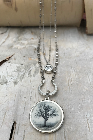 Silver Raven Tree Double Necklace
