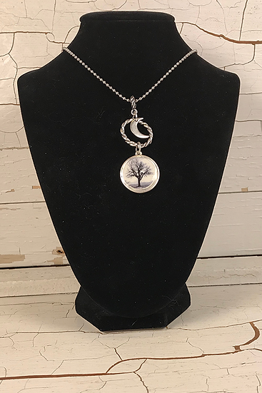Silver Raven Tree Necklace with Moon