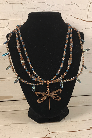 3 Strand Teal Blue Antique Copper Dragonfly Necklace Set