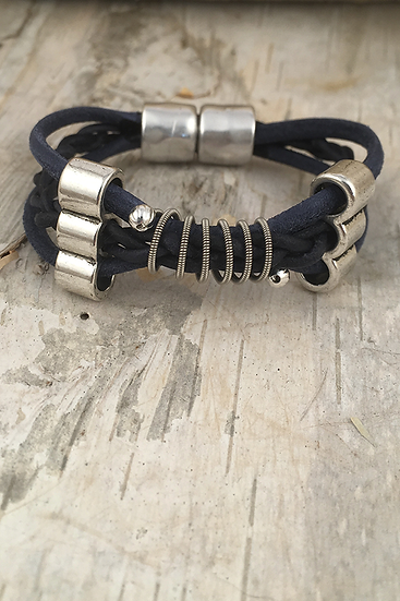 Small Leather Electric Guitar String Bracelet